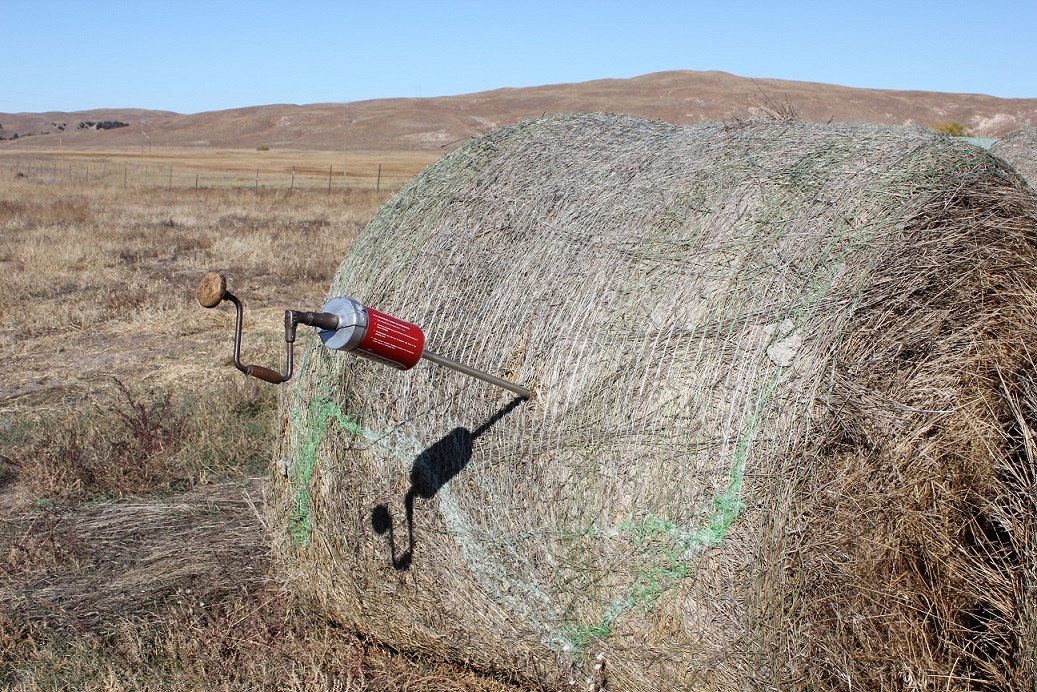 Hay samples should be taken using a hay probe or a core sampler.  Photo courtesy of Troy Walz.