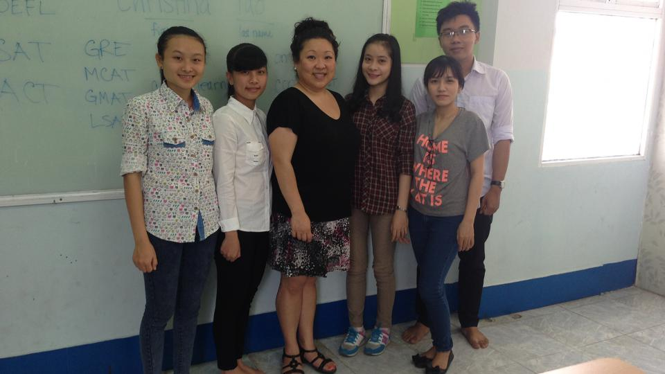 UNL's Christina Yao (third from left) poses with students during a trip to Can Tho University in Vietnam. The trip was funded through UNL's Global Gateway grants program. (Courtesy photo)