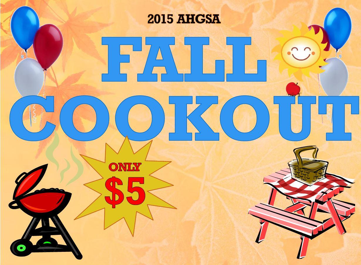 AHGSA Fall Cookout sign