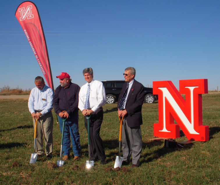 Participants pose during the groundbreaking ceremony for UNL's new alternative energy research/outreach project at the Haskell Agricultural Lab. Pictured (from left) is Bill Kranz, Kent Bearnes, Congressman Jeff Fortenberry and Alan Moeller.