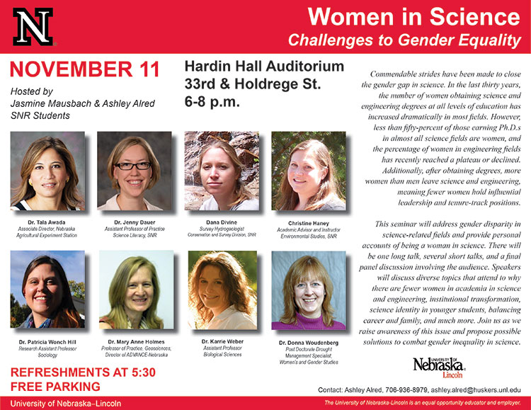 """The """"Women in Science: Challenges to Gender Equality"""" seminar will address gender disparity in science-related fields and provide personal accounts of being a woman in science."""