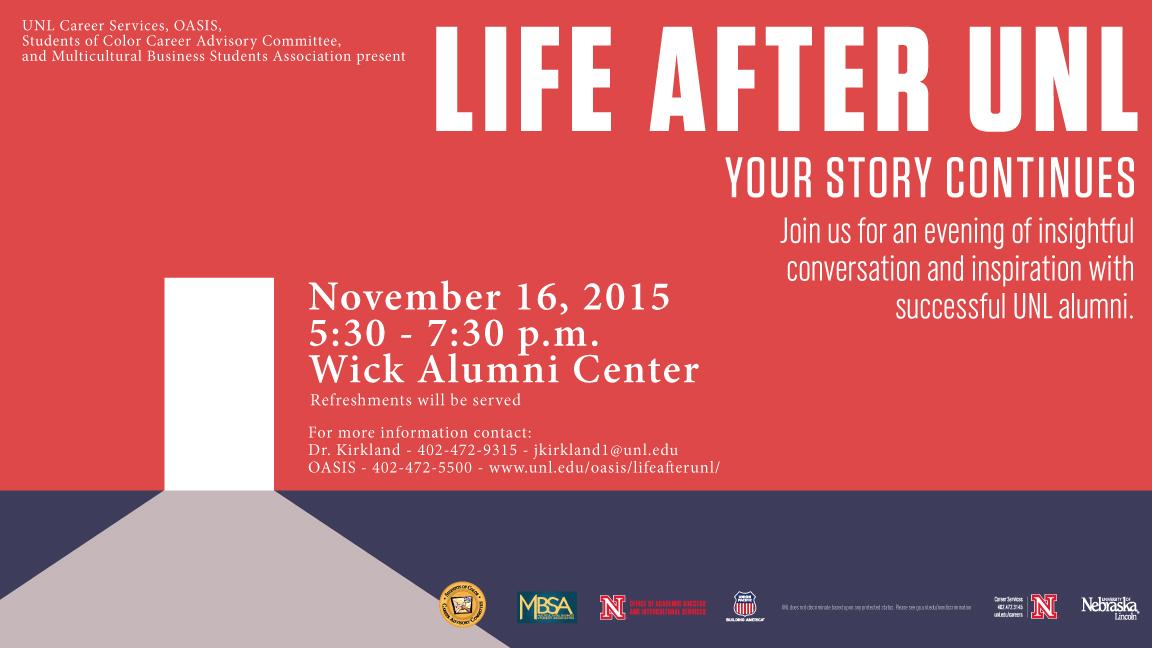 Life After UNL event happening Nov. 16.