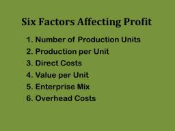 Six factors interact to affect farm and ranch profits.