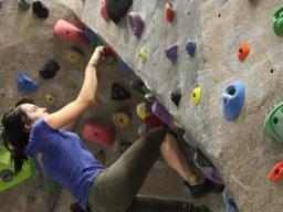 The climbing wall is the perfect place to take a study break!