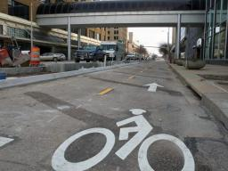 Troy Fedderson | University Communications The N Street cycle track along N Street in downtown Lincoln features a dedicated two-lane bike path separate from traffic and pedestrians. The new route opens the week of Dec. 21.