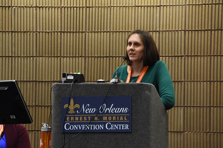 Natalie Umphlett at the 96th annual meeting of the American Meteorological Society in New Orleans. (Photo by Ken Dewey)
