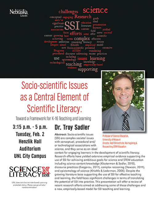 Dr. Sadler's talk on Feb. 2, 2016