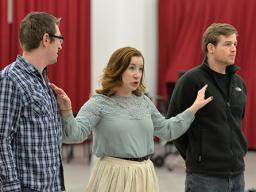 """(left to right) Matthew Clegg, Lee Ann Frahn and Eric Martens rehearse """"The Tales of Hoffmann,"""" which has performances Feb. 19 and 21. Photo by Michael Reinmiller."""