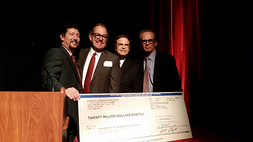 Johnny Carson Foundation members (L-R) Larry Witzer, Jeff Sotzing, Allan Alexander and Lawrence Heller, celebrate the announcement of the Johnny Carson Center for Emerging Media Arts at UNL in November.