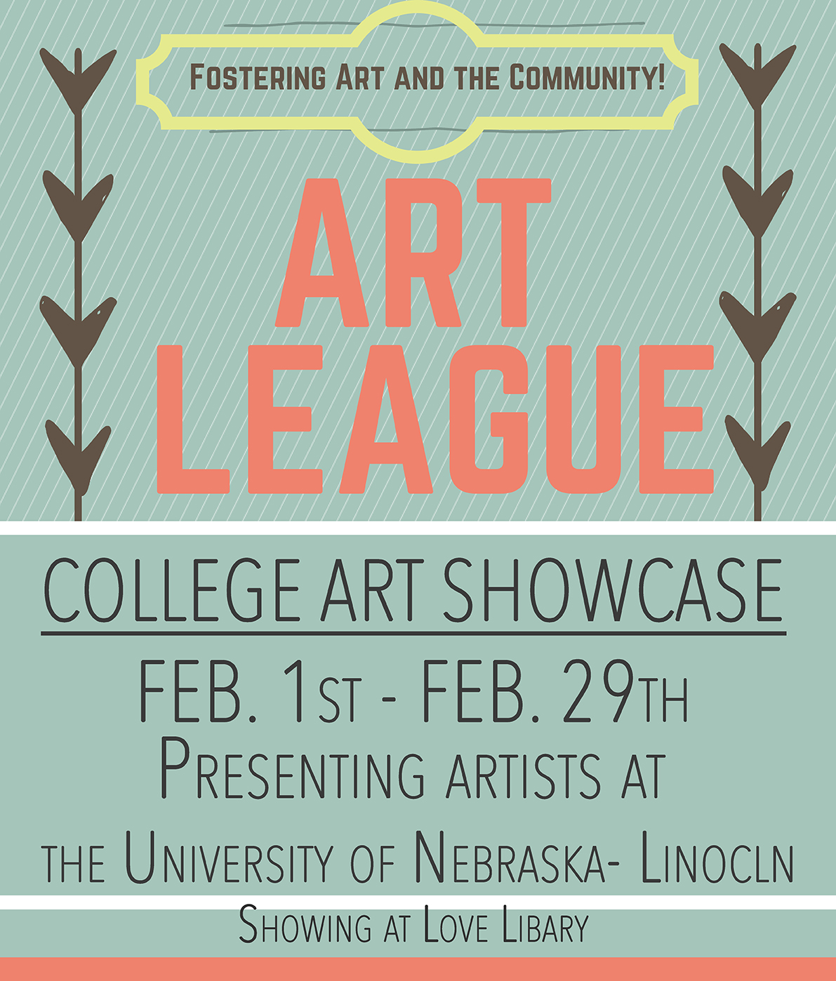 A show of student artist work will be on display during February in Love Library South, on the second floor.