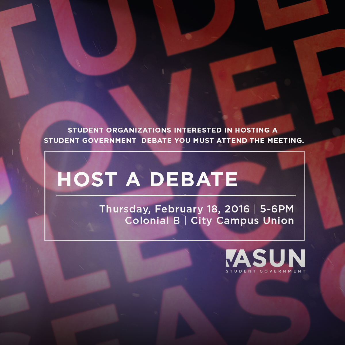 Student Organizations interested in hosting a Student Government debate must attend the meeting