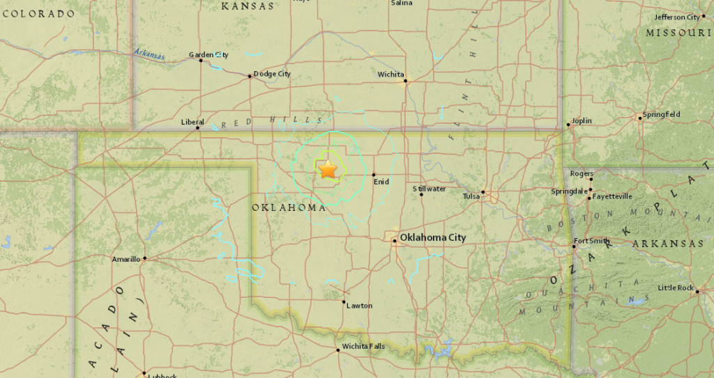 Regional map showing earthquake location in Oklahoma