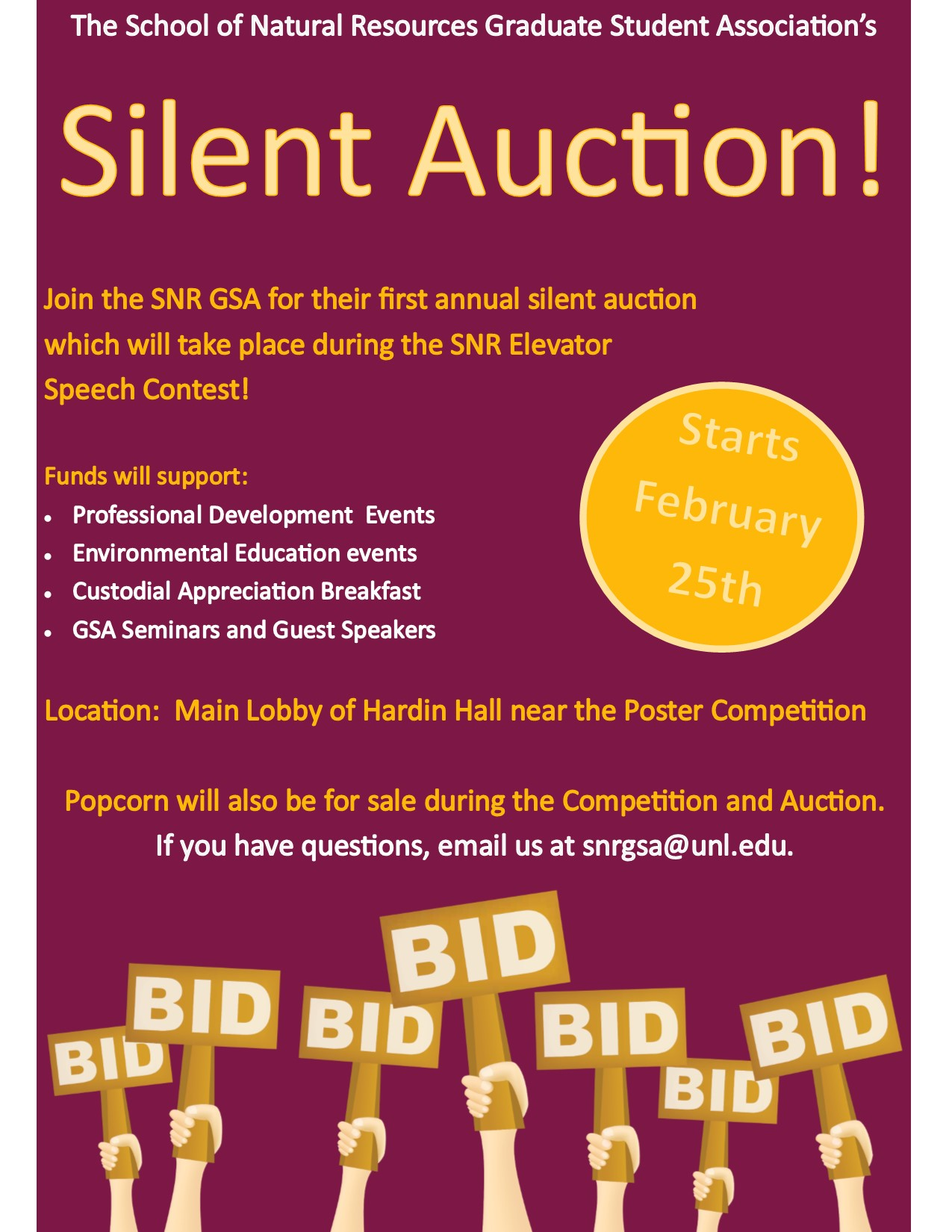 snr graduate student association to host silent auction announce