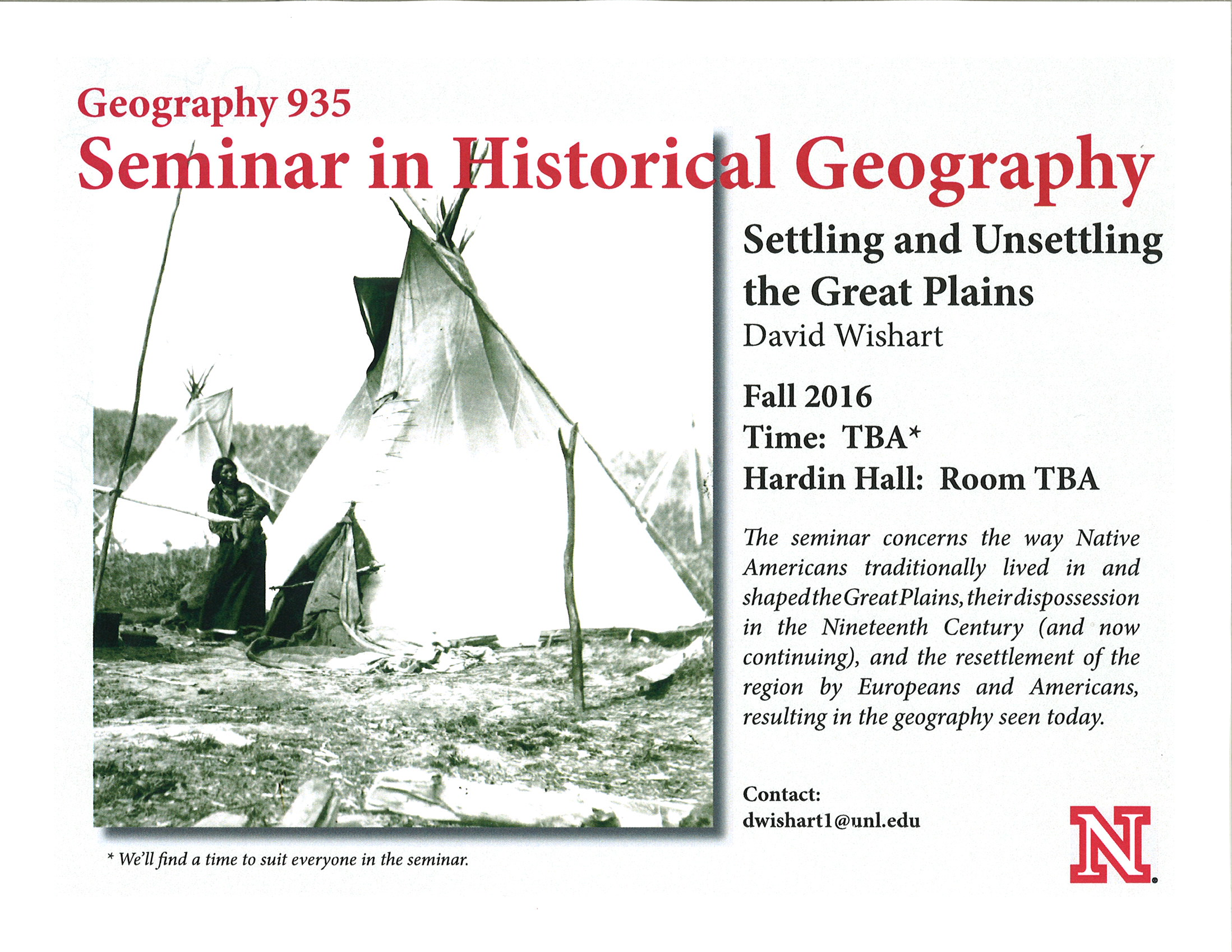 Course flyer Seminar in Historical Geography