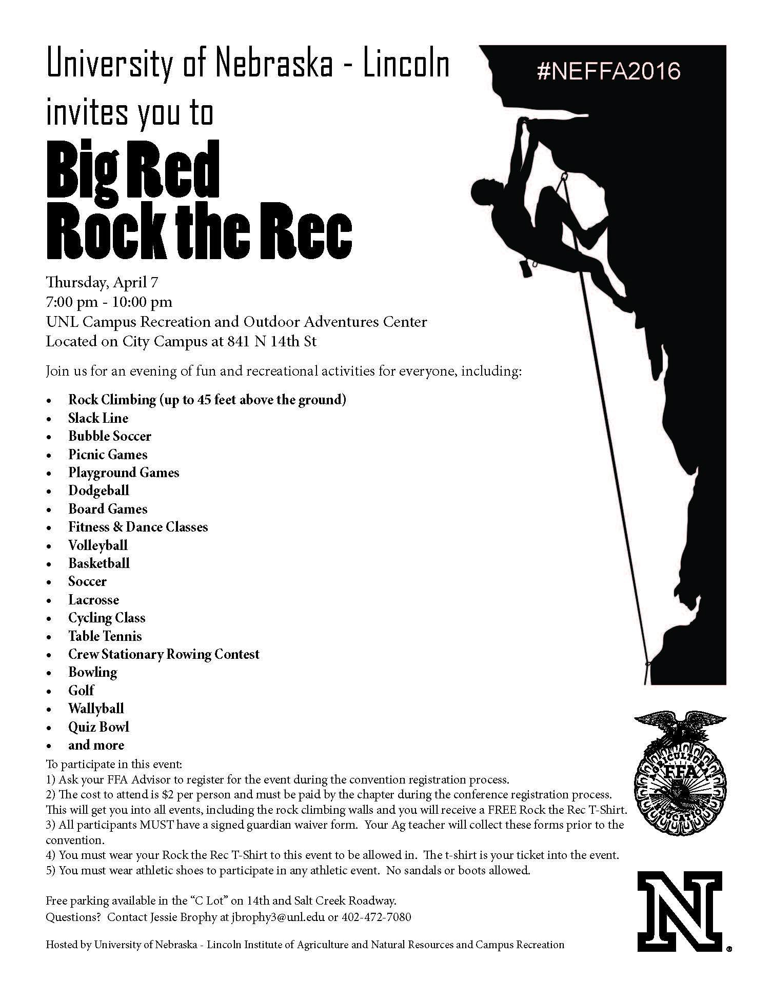 Big Red Rock the Rec event flyer