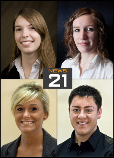 (Clockwise from top left) Rachel Albin, Jenna Gibson, Andrew Mach and Teresa Lostroh.