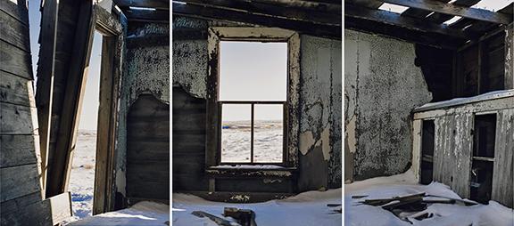 """Amanda Breitbach, """"Homestead House,"""" triptych, 2016."""