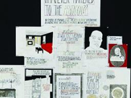 """Deb Sokolow, """"Whatever happened to the Pentagon (restaurant)?"""", graphite, ink, correction fluid, acrylic, collage, type on paper, pins, 5 ft. x 5 ft., 2007."""