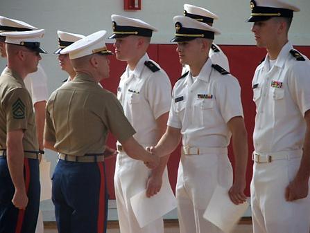 Members of UNL's Naval ROTC program receive awards.