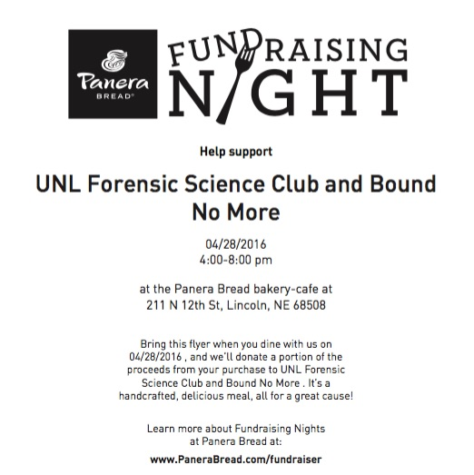This flyer is required on your mobile device or printed in order for Panera to donate to Bound No More on 4/28 from 4pm-8pm!