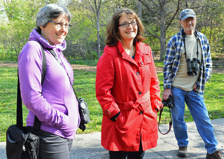 """(From left) Dr. Bridget Stutchbury, biologist at York University in Toronto, and JoAnne Jackson, producer of """"The Messenger,"""" now playing at The Ross, participate in a bird banding event at Pioneers Park Chet Ager building on Saturday as part of a two-day"""