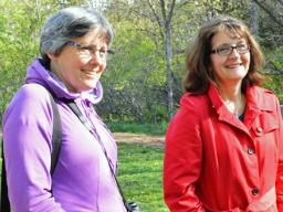 "(From left) Dr. Bridget Stutchbury, biologist at York University in Toronto, and JoAnne Jackson, producer of ""The Messenger,"" now playing at The Ross, participate in a bird banding event at Pioneers Park Chet Ager building on Saturday as part of a two-day"