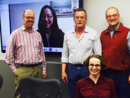 Dottie Bussman (front) with her dissertation committee (L-R) Ted Hamann, Elaine Chan (on screen), Karl Hostetler and Robert Brooke.