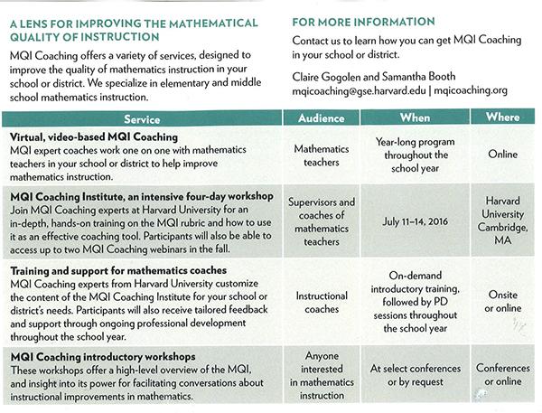 MQI Coaching Options