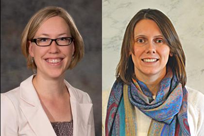 From left, Jenny Dauer, SNR associate professor, and Natalie Umphlett, High Plains Regional Climate Center interim director, were named 2016 Great Plains Fellows.