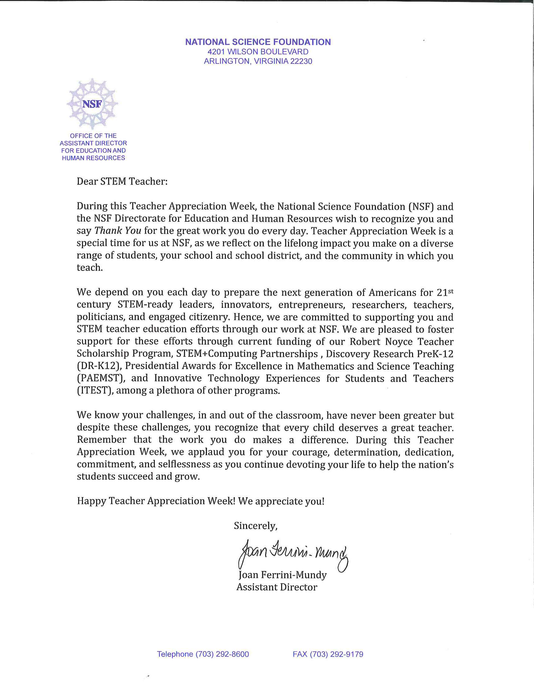 Teacher appreciation week a letter from the nsf announce letter from joan ferrini mundy spiritdancerdesigns Images