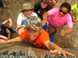 On the T.R.U.S.T. course, youth learn to work as part of a team while working through obstacles.