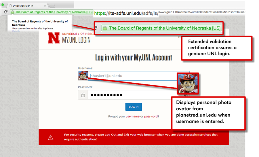 Login offers assurances to users of a geniune UNL login site.