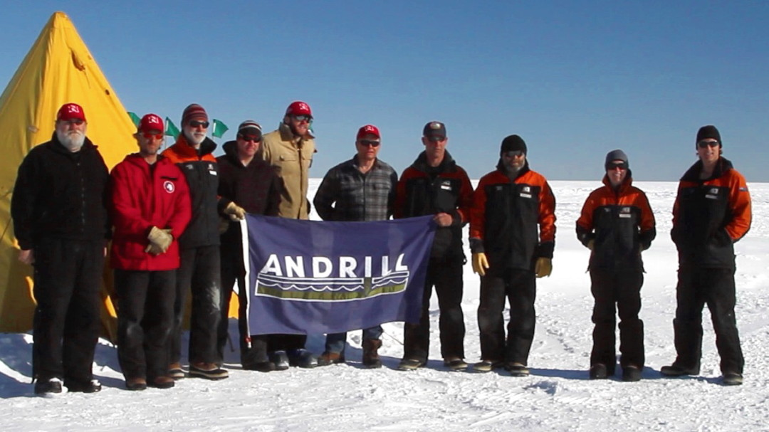 Frank Rack, ANDRILL executive director, is pictured at far left.
