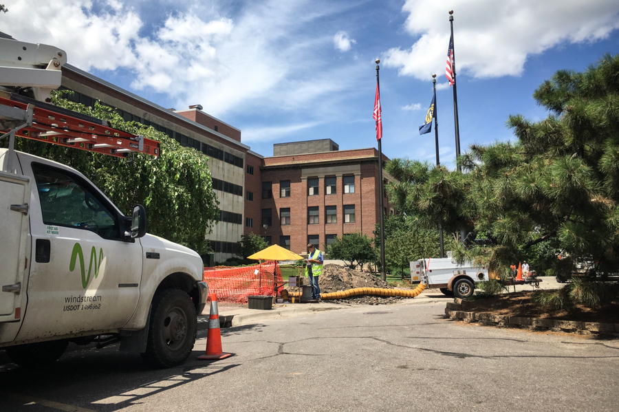 Windstream workers have begun repairing underground telephone cables between the Canfield Administration Building South and the Nebraska Union.
