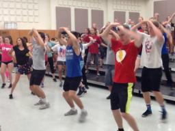 Dakota Mathew (in blue center front row) is taking part in the Nebraska Show Choir Camp.