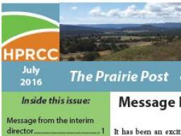 The latest High Plains Regional Climate Center newsletter, The Prairie Post, now is available.