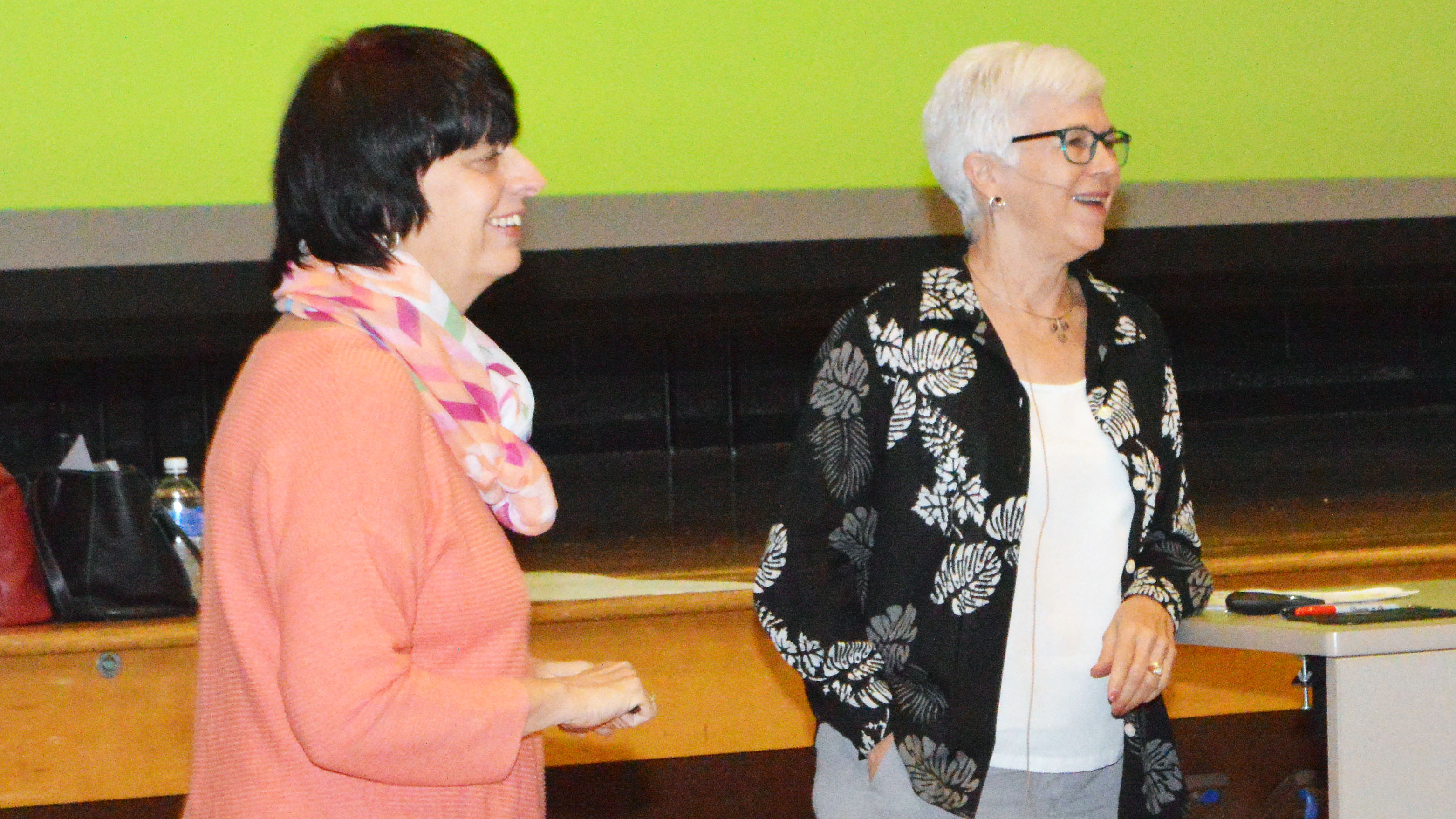 Cynthia Simpson, left, and Donna Dean, with the Association for Women in Science, lead a mentoring workshop Friday, Aug. 26, 2016, in Hardin Hall Auditorium.