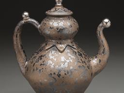 "Seth Green, teapot, reduction-fired stoneware, glaze, white gold luster, 11"" x 8"" x 5"", 2014."