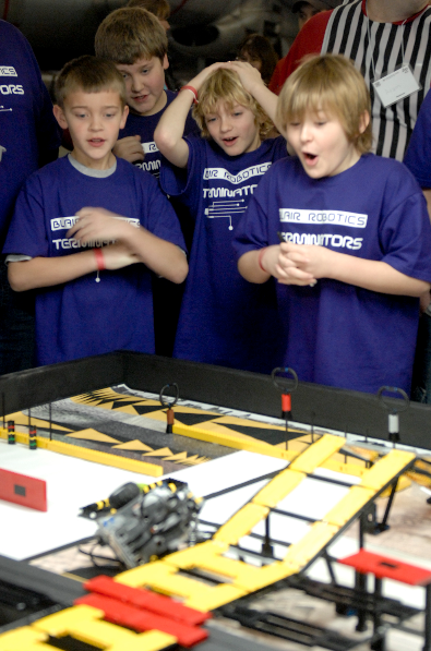 Members of Team Terminator from Blair react as their robot crashes during the First LEGO League tournament on Jan. 30, 2010.