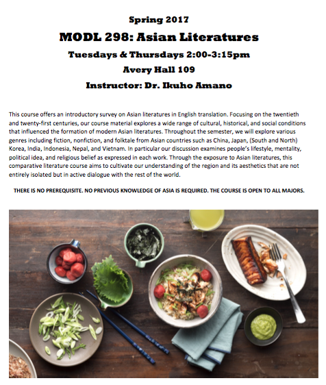 Asia Regional Specialization Course: MODL 298 Asian Literatures