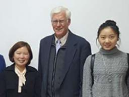 Ian Newman and Chongqing Medical University graduate students taking a break from a session of working on their research projects.