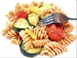 A 30 page handout will include recipes such as this Roasted Vegetable Pasta.