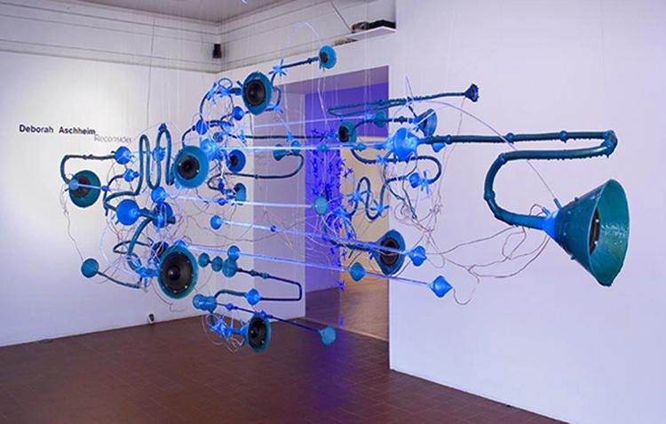 "Deborah Aschheim, ""Earworm (node),"" 2008, speakers, LED's, plastic, copper tubing."