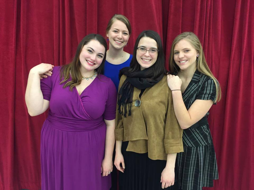In the Glenn Korff School of Music's UNL Opera production of Little Women, the March Sisters include (from left) Meg (Emily Triebold), Jo (Patty Kramer), Beth (Kate Johnson) and Amy (Krista Lawrence).