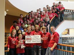 In 2015, Scottsbluff High School won first place in the bowl tournament in Class II at Nebraska Math Day. Teacher Shelby Aaberg (bottom right) is a UNL graduate.