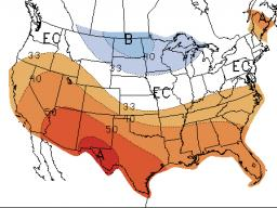 December - February temperature (left) and precipitation forecasts indicate equal chances for above or below normal conditions for Nebraska. See Al Dutcher's short-term and winter forecasts in this week's CropWatch. (Source: NOAA Climate Prediction Center