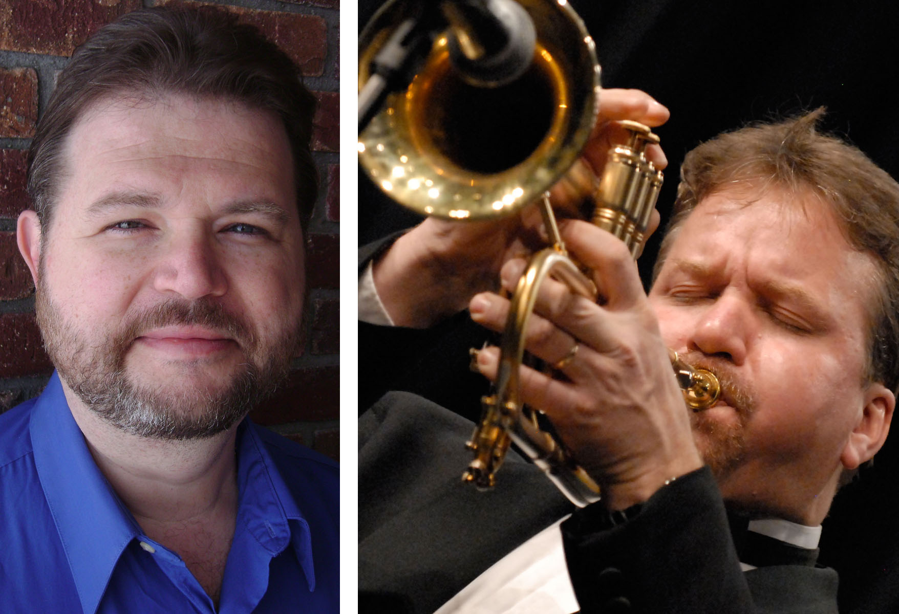 (From left) Eric Richards, assistant professor of composition and jazz studies, and Rob Parton, leader of the Rob Parton Big Band.