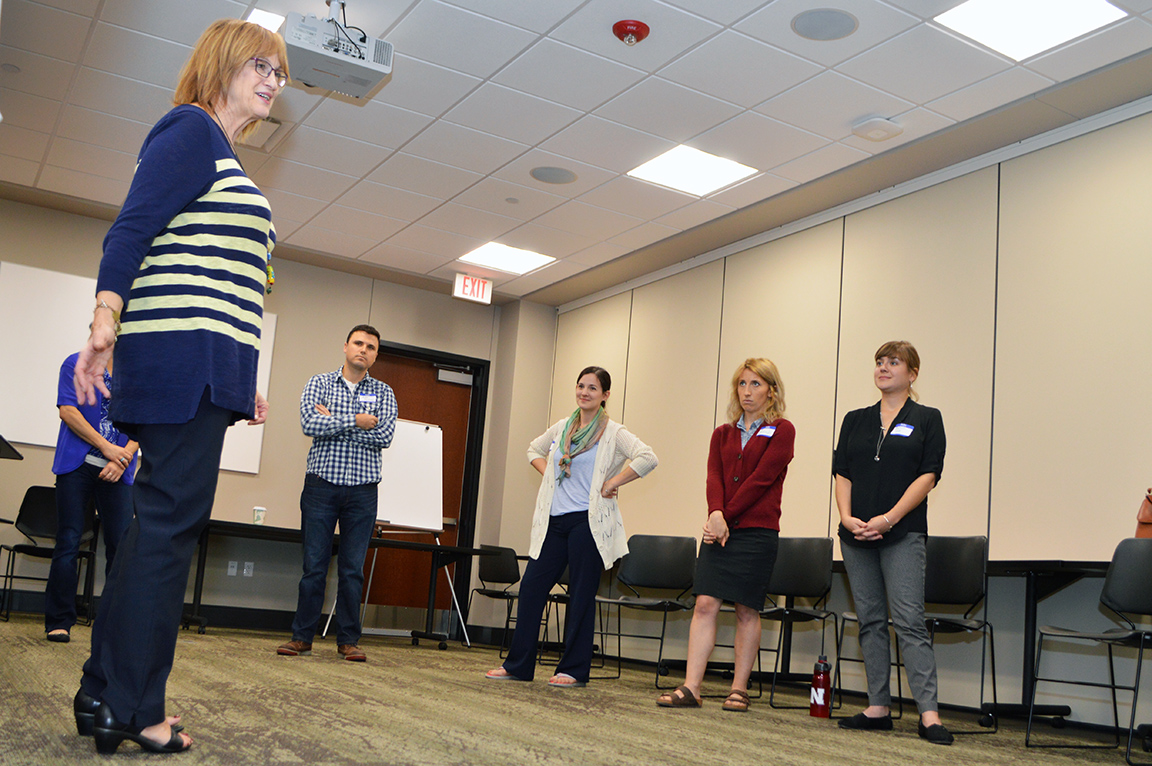 Carol Schindler leads an improvisational class during the Alan Alda Center for Communicating Science workshop in October at Nebraska Innovation Campus. | Shawna Richter-Ryerson, Natural Resources
