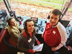 (from left) Hannah Huston, Amber Vlasnik and Hank Bounds at the Nebraska-Maryland football game Nov. 19.