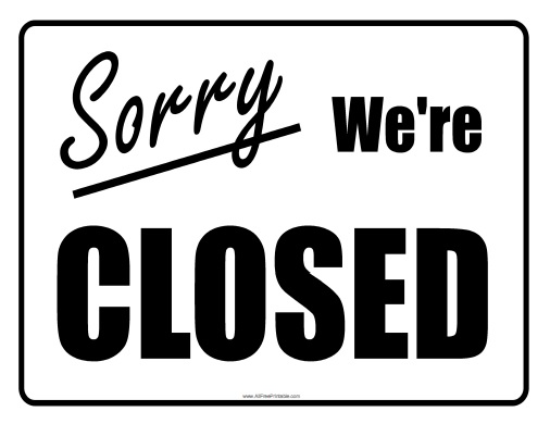 closed for holiday sign